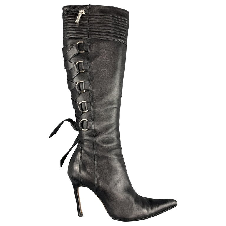 GIANNI VERSACE Size 8 Black Corset Back Pointed Knee High Boots For Sale