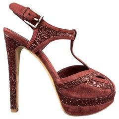 CHRISTIAN DIOR Size 8 Burgundy Glitter Suede T Strap Platform Celeste Sandals