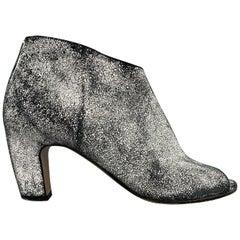 MAISON MARTIN MARGIELA Size 7 Black & White Painted Crackle Suede Peep Toe Boots