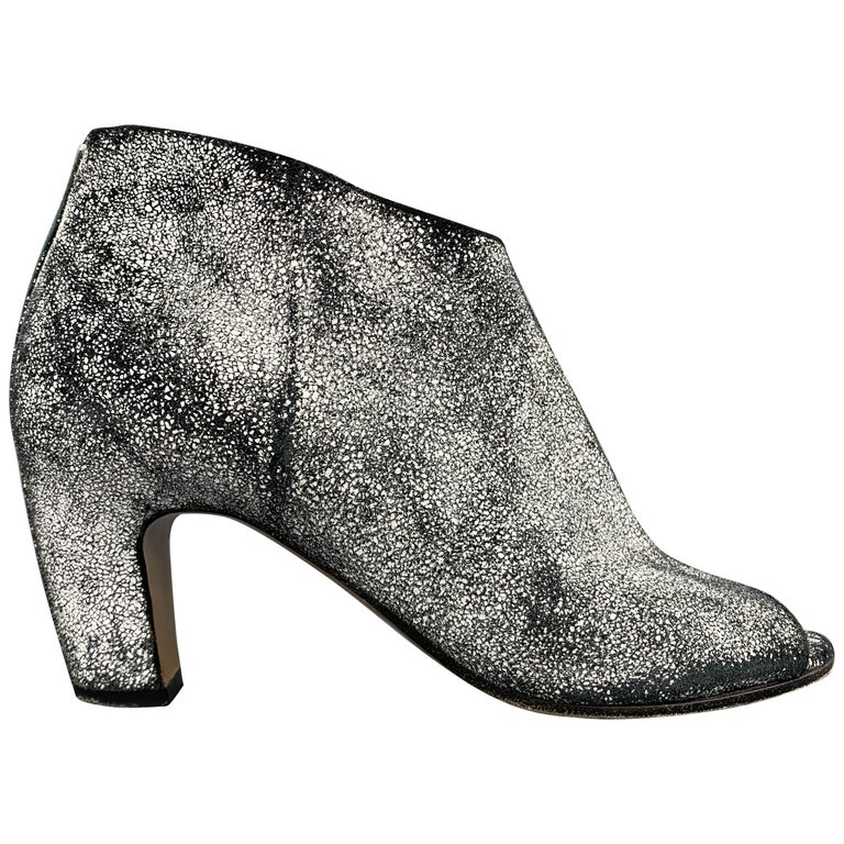 ecb02531f17 MAISON MARTIN MARGIELA Size 7 Black & White Painted Crackle Suede Peep Toe  Boots