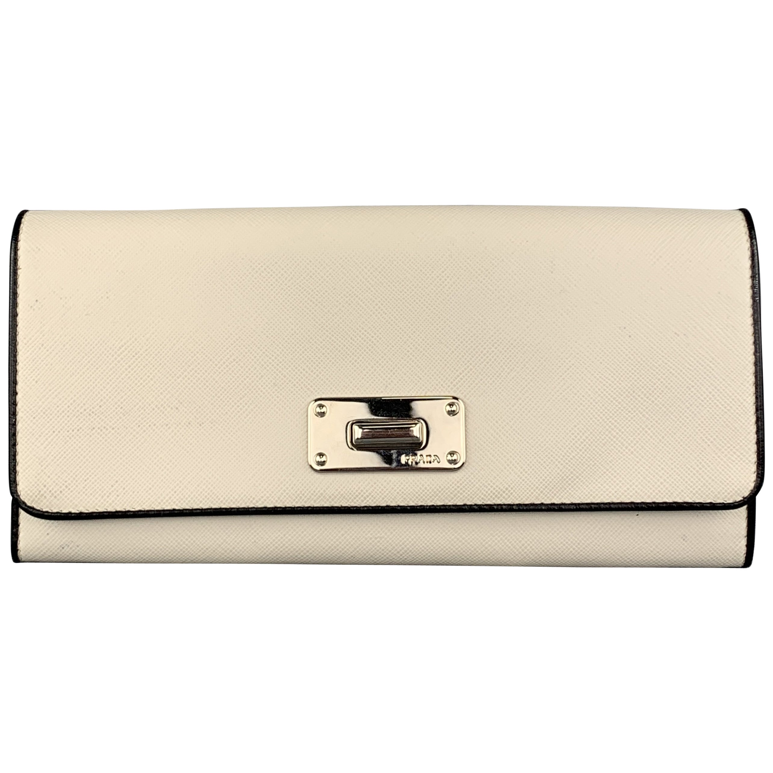 e204c61b703d4b PRADA Off White Saffiano Leather Black Piping Silver Closure Wallet at  1stdibs
