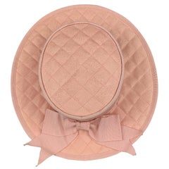 2973afe07f8 Vintage CHANEL Pink Quilted Cotton Flat Top Hat