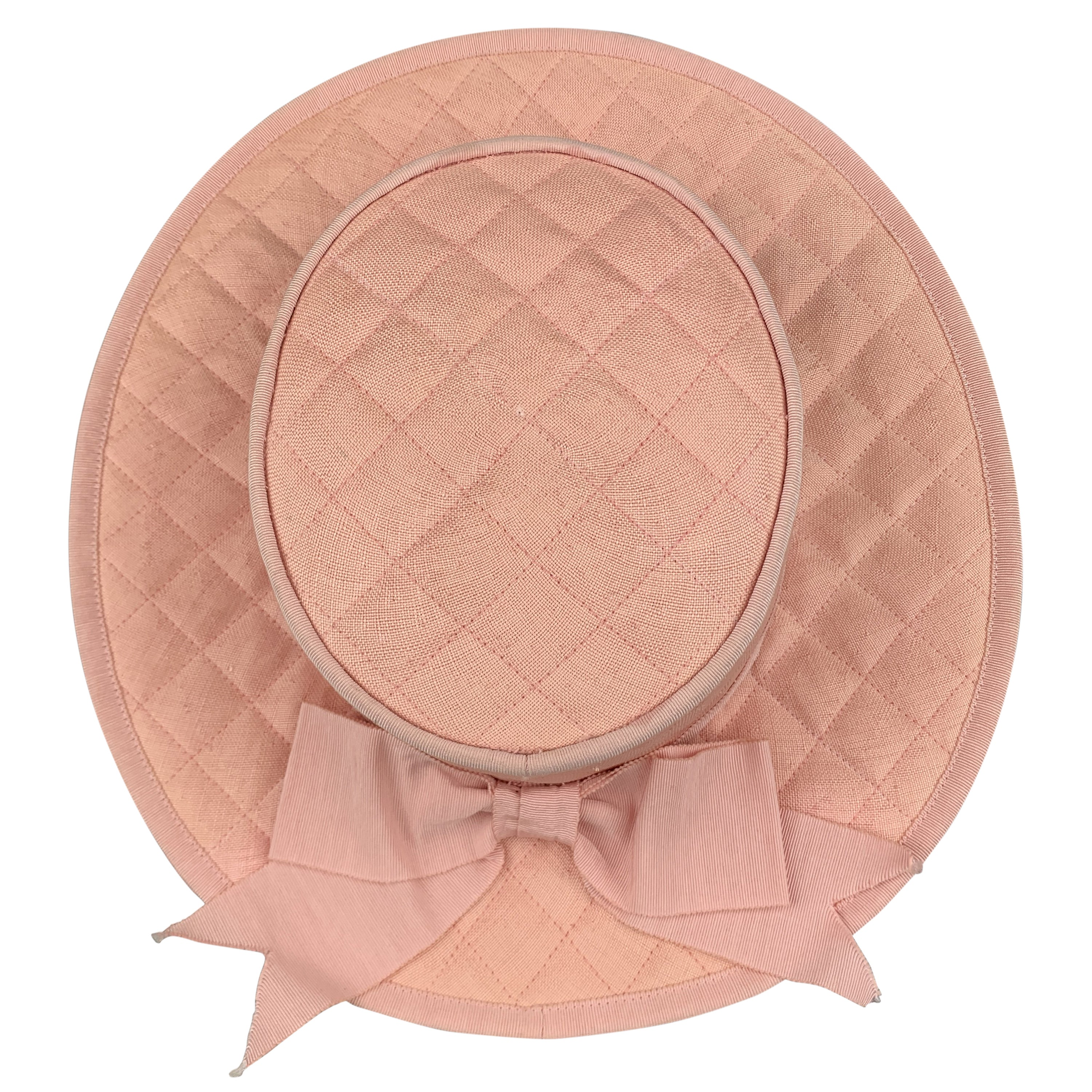 06db2e1bb484b5 Vintage CHANEL Pink Quilted Cotton Flat Top Hat at 1stdibs