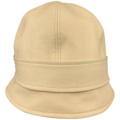 AGNONA Beige Leather Bucket Hat