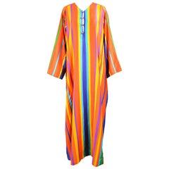 Neiman Marcus Mexican Style Caftan Rainbow Striped Cotton Maxi Dress, 1970s