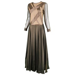 Louis Feraud Haute Couture Brown Sheer Silk Chiffon / Bias Cut Satin Gown, 1970s