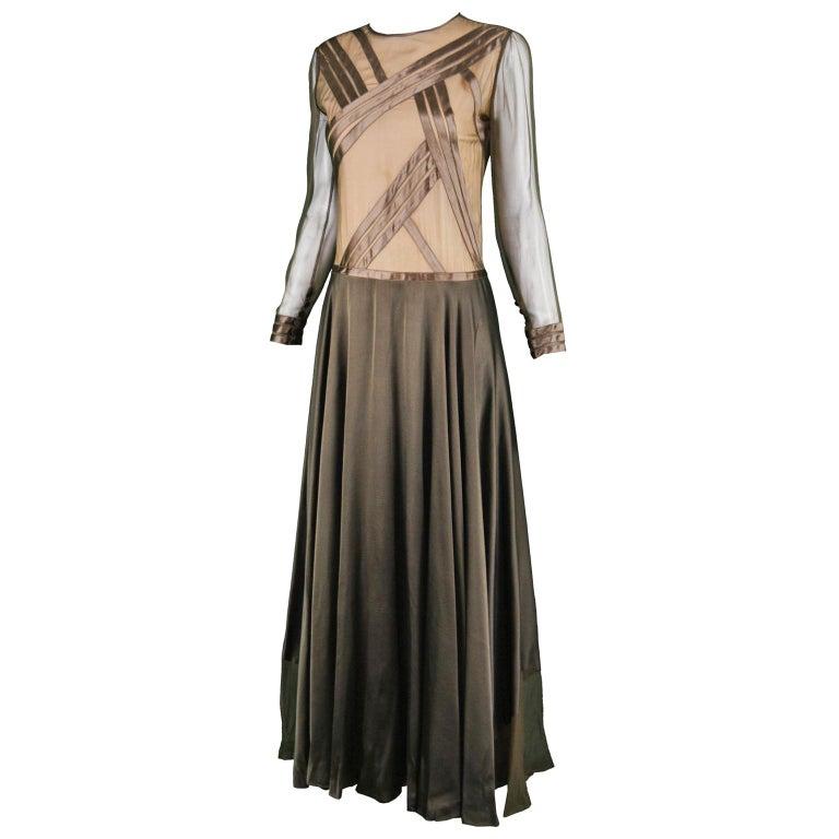 Louis Feraud Haute Couture Brown Sheer Silk Chiffon / Bias Cut Satin Gown, 1970s For Sale