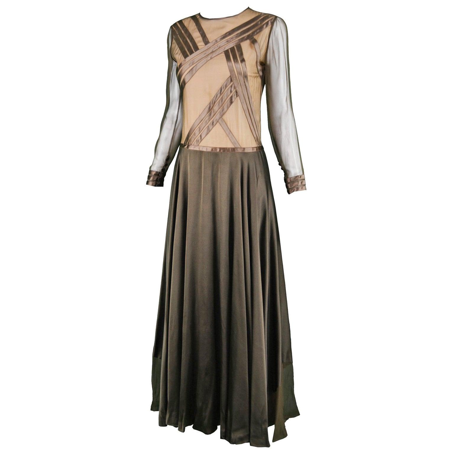 Louis Feraud Haute Couture Brown Sheer Silk Chiffon / Bias Cut Satin Gown, 1970s