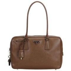 Prada Brown Dark Brown Leather Saffiano Bauletto Handbag Italy w/ PadlockKey