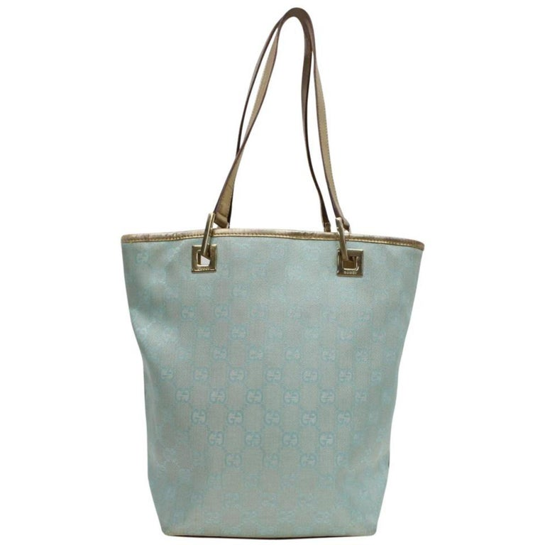 89862998ef6689 Gucci Monogram Gg Shopper 868579 Blue Canvas Tote For Sale at 1stdibs