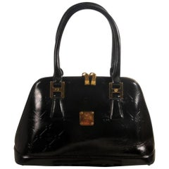 MCM Embossed Bowler 868492 Black Patent Leather Satchel
