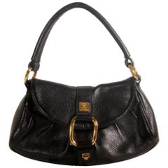 MCM Hobo 868835 Black Leather Satchel