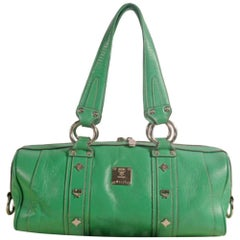 MCM Studded Barrel Boston 868838 Green Leather Tote