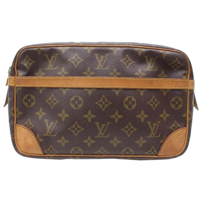 e6bd1fe9c084 Louis Vuitton Compiegne 28 Cosmetic Pouch 868229 Brown Coated Canvas Clutch  For Sale