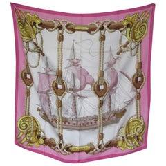 Hermes Paris Tribord pink Silk Scarf 90cm Julia Abadie