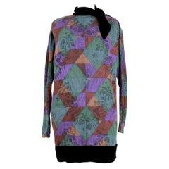 1980s Emanuel Ungaro Parallele Multicolor Floral Wool Velvet Short Dress