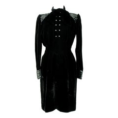 1980s Emanuel Ungaro Black Sequins Swaroski Silk Velvet Evening Dress
