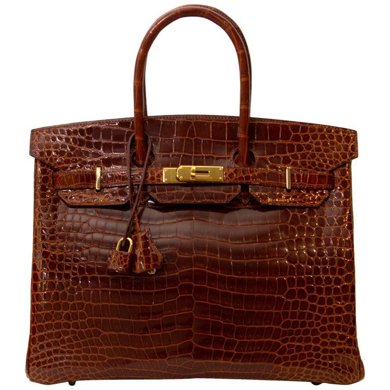 Hermès Birkin 35 Crocodile Porosus Havane GHW For Sale