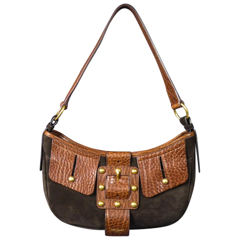 Saharienne bag in leather and suedeYves Saint Laurent Rive Gauche Circa 1995 For Sale