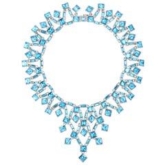 Simon Harrison Claudette Aquamarine Crystal Small Necklace
