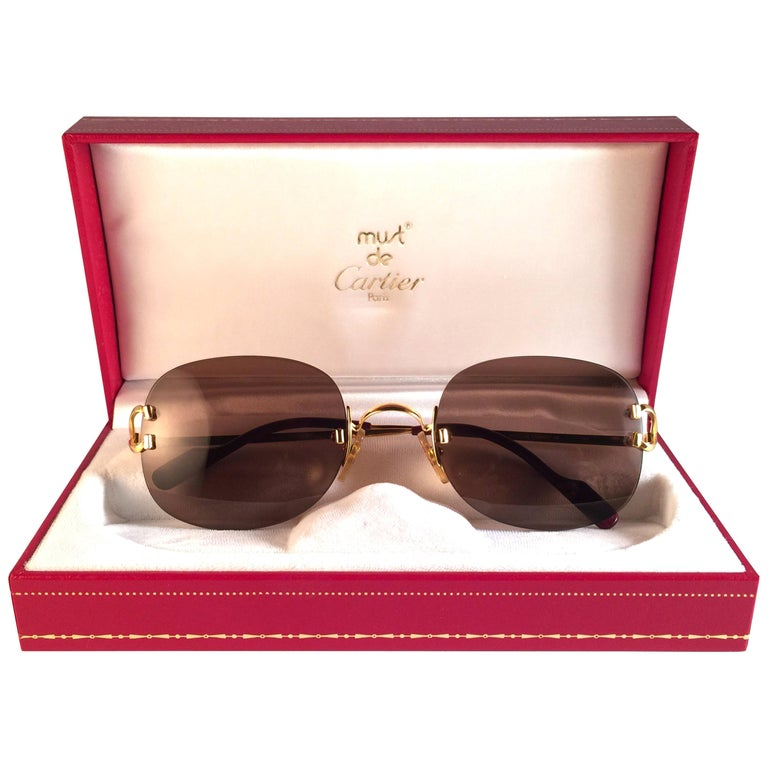 New Cartier Serrano Rimless Gold 55mm Brown Lens France Sunglasses For Sale
