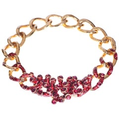 Simon Harrison Coral Red Enamel & Crystal Chain Necklace