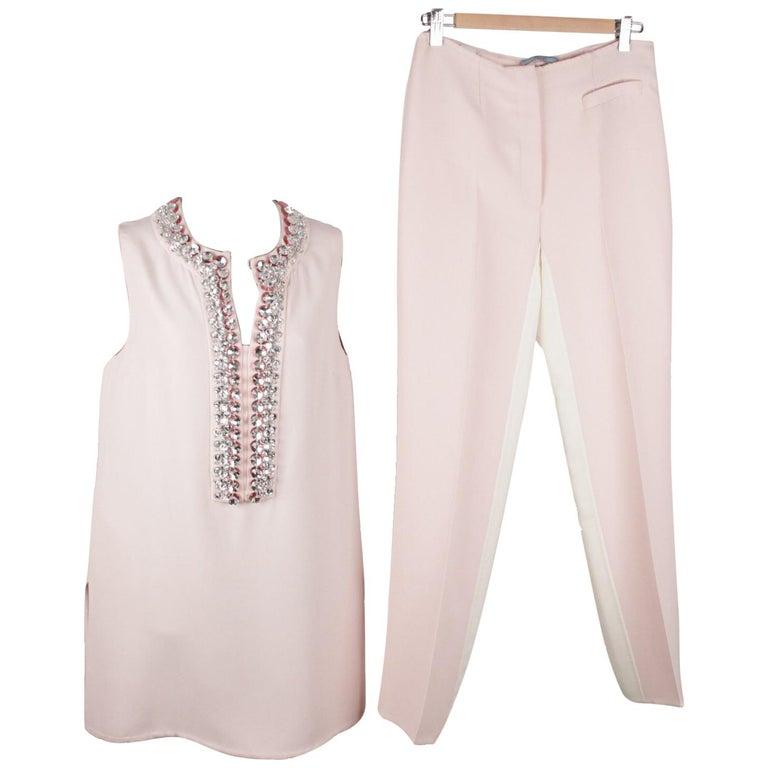 Prada Pink Embellished Sleeveless Tunic and Pants Set IT Size 40 For Sale