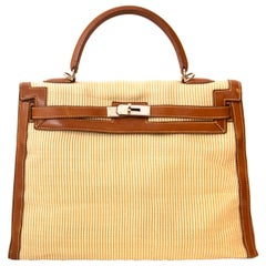 Hermès Kelly 35 Barenia Striped Crinolin PHW