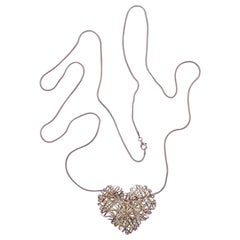 Long Silver Snake Chain and Woven Heart Pendant Necklace, Italy