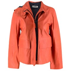 Jil Sander Orange Leather Hooded Jacket US 0-2