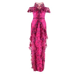 Marchesa Notte Cold-Shoulder Ruffled Embroidered Gown Dress US 8