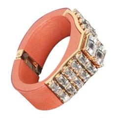 Prada Orange Saffiano Leather Rhinestones Bracelet Cuff 1AJM93