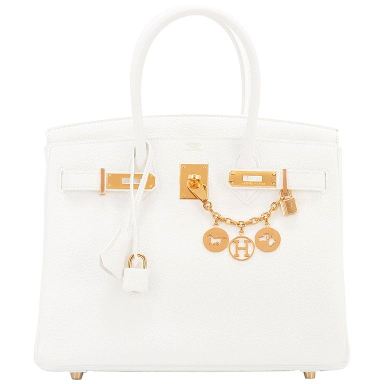 1198cd132495 Hermes Birkin 30cm White Clemence Gold Hardware X Stamp For Sale at ...