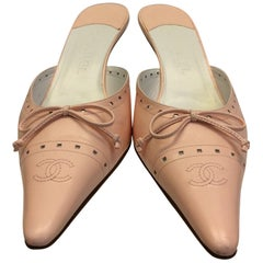 Chanel Pink Leather Slides