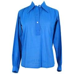 1970s YSL Yves Saint Laurent Azure Blue Slightly Transparent Cotton Shirt Blouse