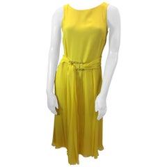 Carolina Herrera Yellow Silk Dress