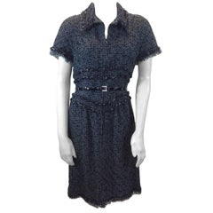 Chanel Grey and Black Tweed Belted Dress