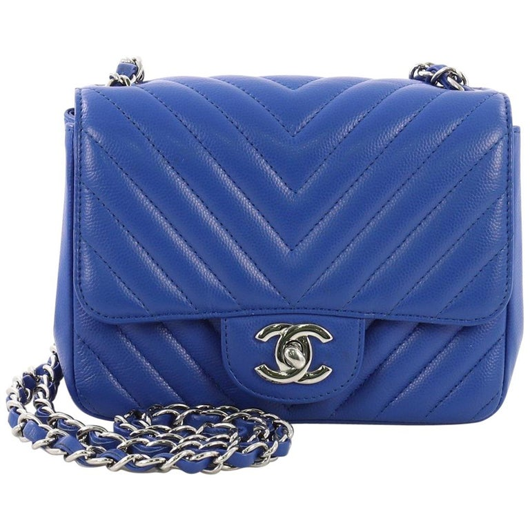 1ee00ad7818d8a Chanel Square Classic Single Flap Bag Chevron Caviar Mini at 1stdibs