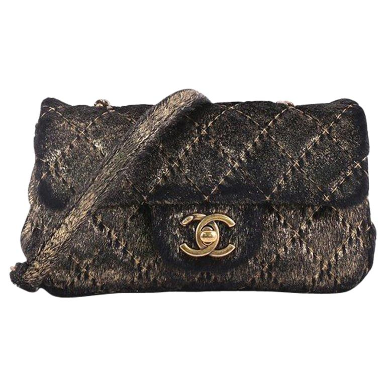 6398dc511e4b Chanel CC Flap Bag Quilted Metallic Pony Hair Extra Mini For Sale at ...