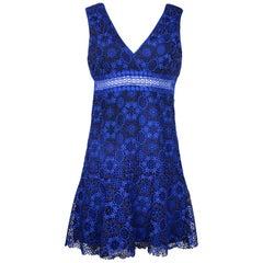 Sandro Blue Embroidery Lace V-Neck Sleeveless Dress Sz 6