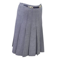 1970s Celine Navy Houndstooth Skirt