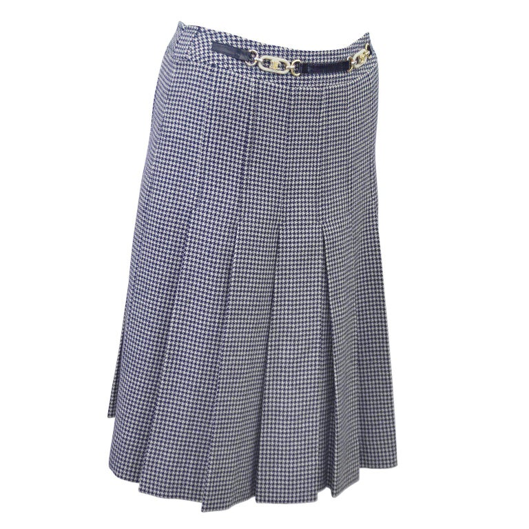 0071b5937c93 1970s Celine Navy Houndstooth Skirt For Sale at 1stdibs