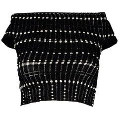Alexander McQueen Black/White Off-The-Shoulder Knit Top Sz XXS