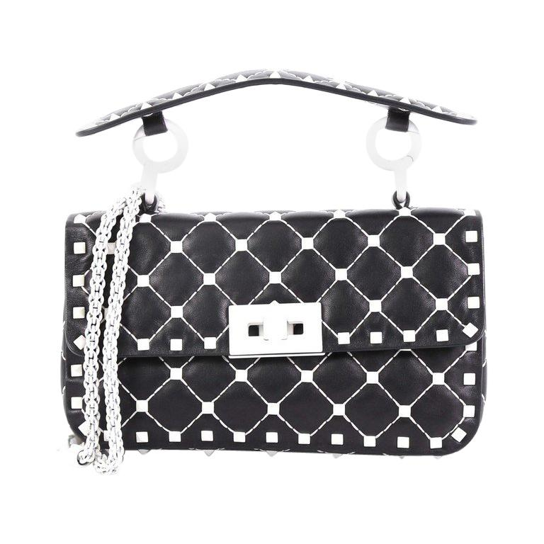 1bf4c636e7 Valentino Free Rockstud Spike Flap Bag Quilted Leather Small For Sale