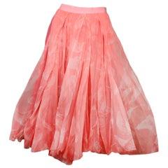 Nina Ricci Pink Printed Silk Midi Skirt Sz FR34/US2