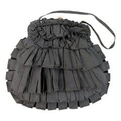 1990s Jamin Puech Black Cotton Pleated Snap Fan Handbag
