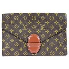 1980s Louis Vuitton Brown Leather Monogram Bag Briefcase