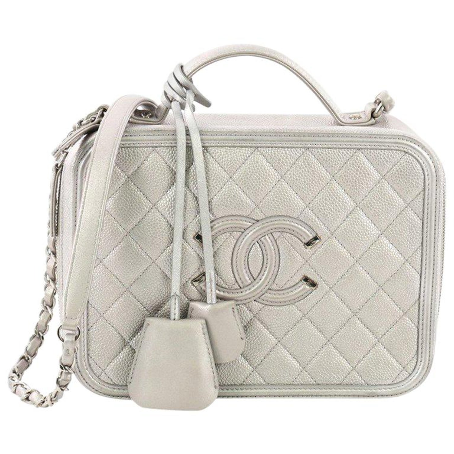 2e1349af50d9 Chanel Filigree Vanity Case Quilted Caviar Medium at 1stdibs