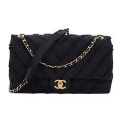 Chanel CC Flap Bag Chevron Canvas Patchwork Maxi