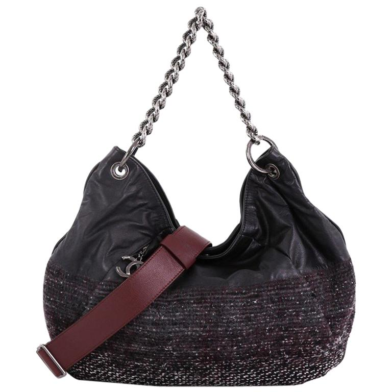 e48fda289cae Chanel Coco Pleats Hobo Leather and Tweed Large For Sale at 1stdibs
